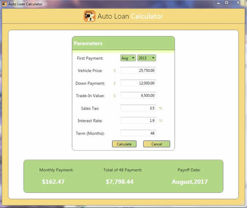 Free Auto Loan Calculator