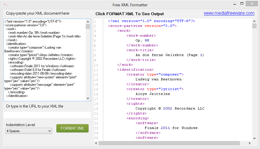 Free XML Formatter