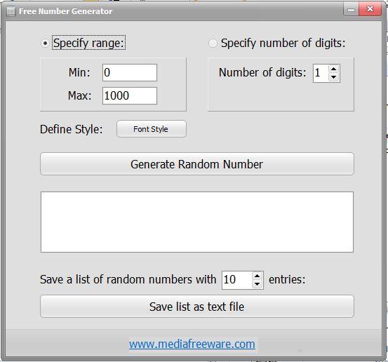 Free Number Generator