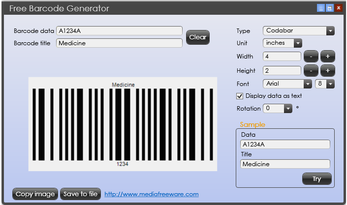 Free Barcode Generator 1.0 Screen shot