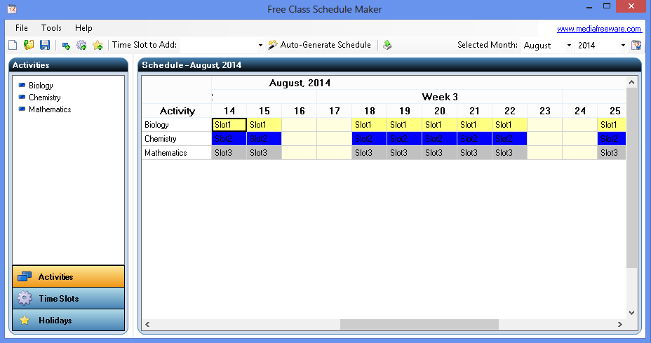 free class schedule maker media freeware download