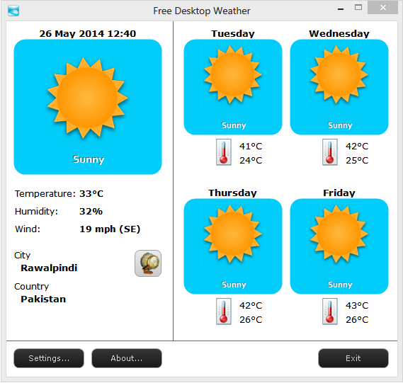 Click to view Free Desktop Weather screenshots