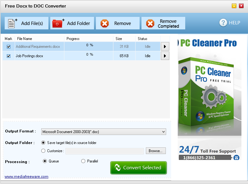 Click to view Free Docx to Doc Converter screenshots