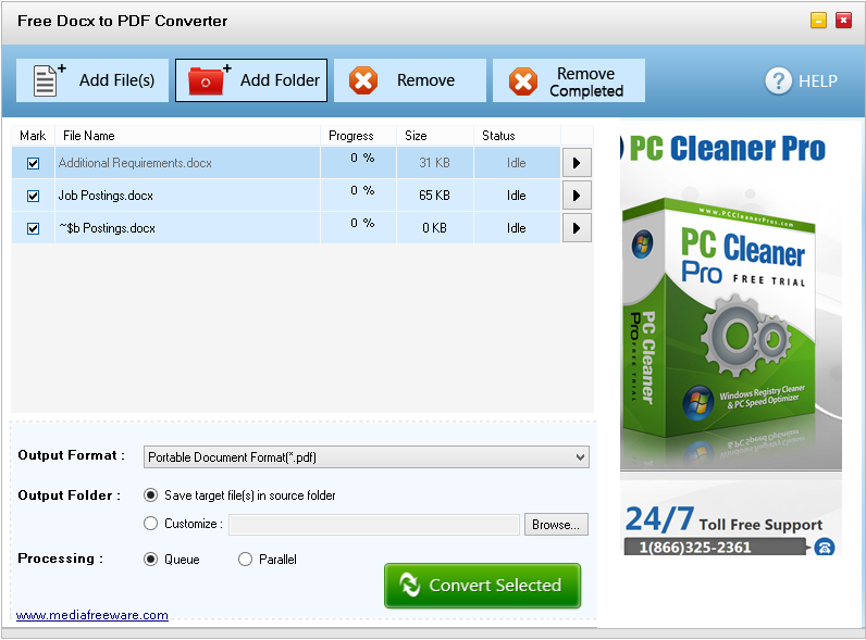Click to view Free Docx to PDF Converter screenshots
