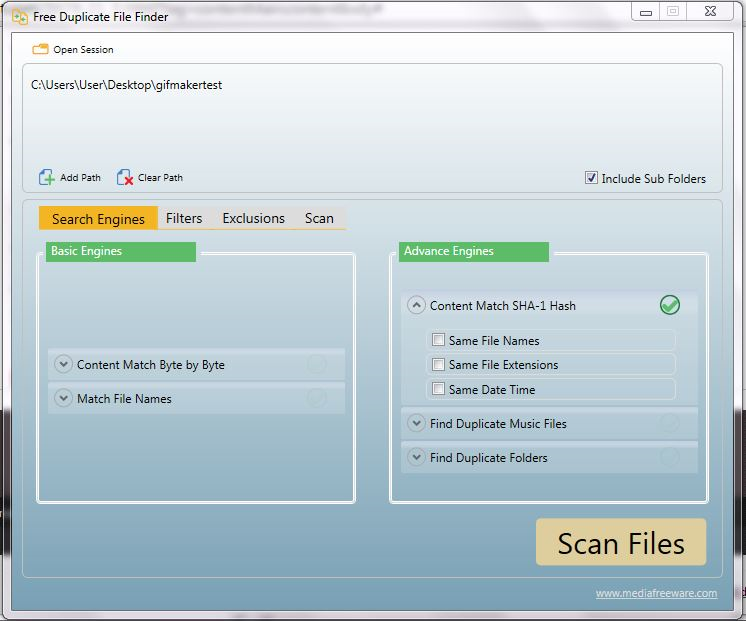 Click to view Free Duplicate File Finder screenshots