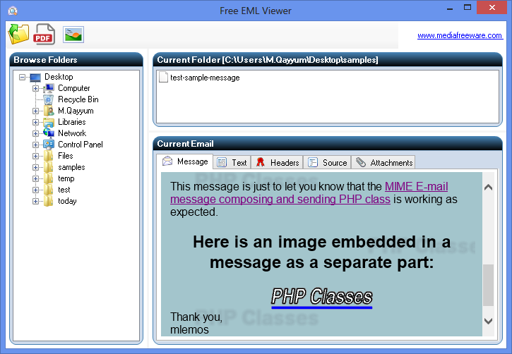 Free EML Viewer Screen shot