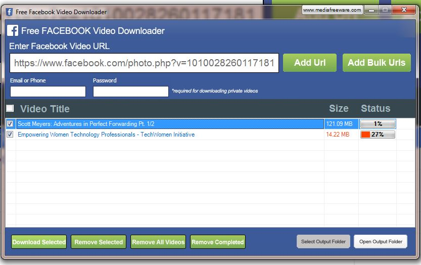 Click to view Free Facebook Video Downloader screenshots