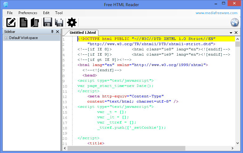 Free HTML Reader Screen shot