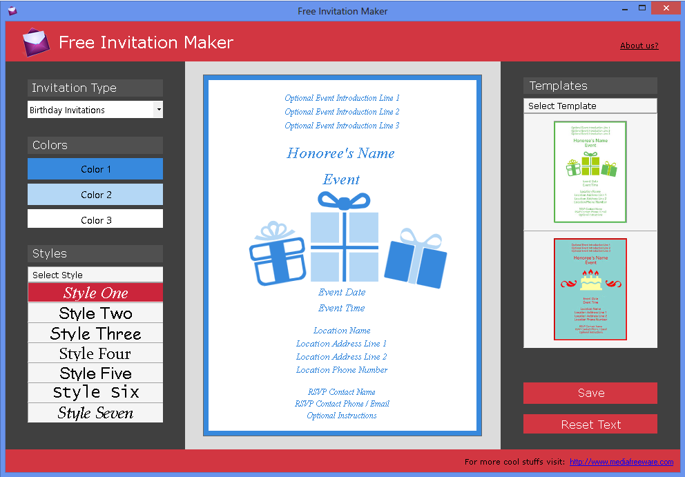 Click to view Free Invitation Maker screenshots