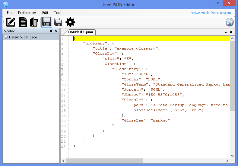 Free JSON Editor Screen shot