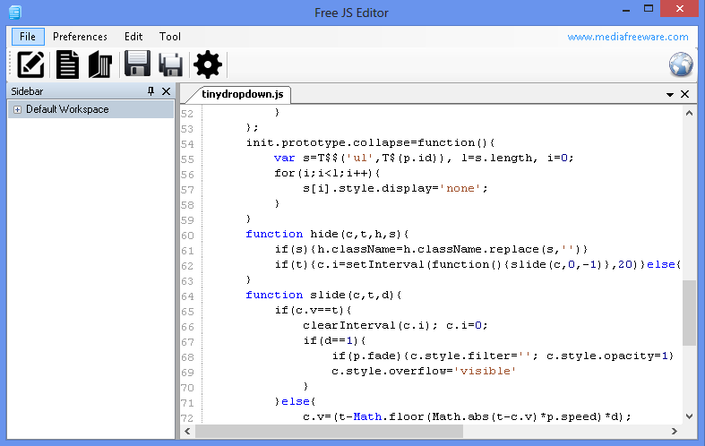 Free JS Editor Screen shot