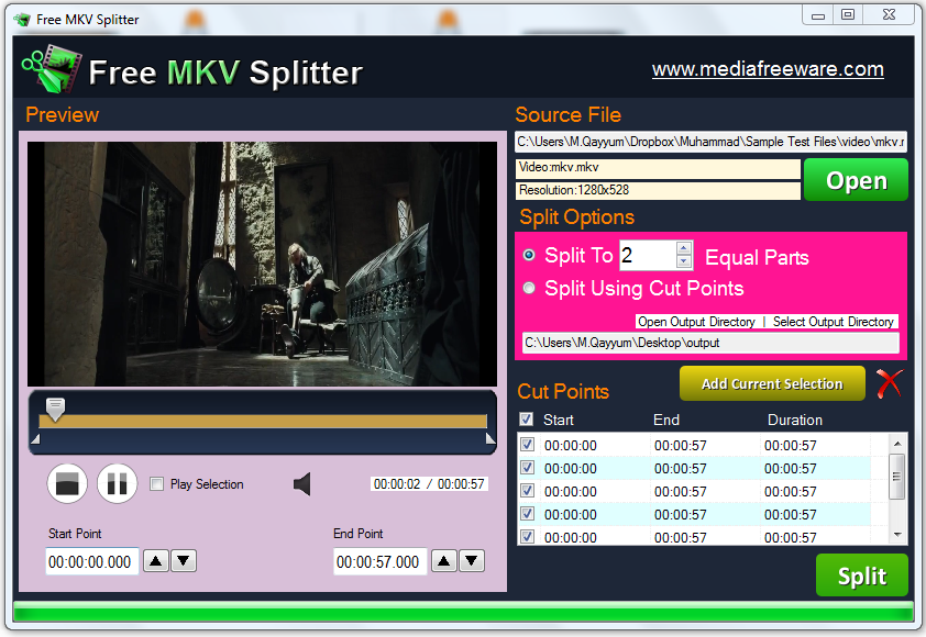 Click to view Free MKV Splitter screenshots