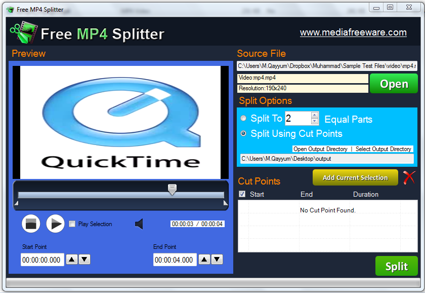 Click to view Free MP4 Splitter screenshots