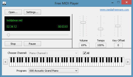 Click to view Free Midi Player screenshots