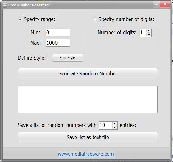 Free Number Generator Screen shot