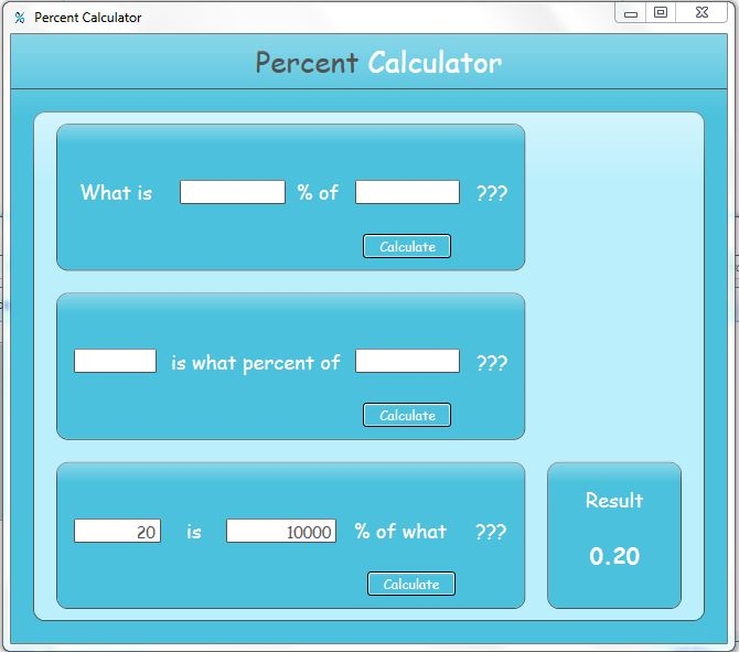 Click to view Free Percent Calculator screenshots