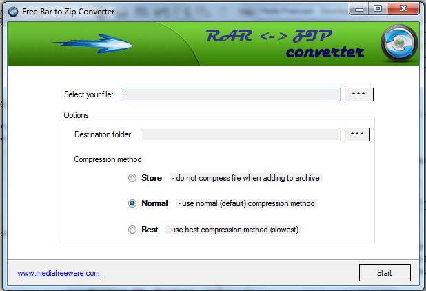 Free RAR to ZIP Converter Screen shot