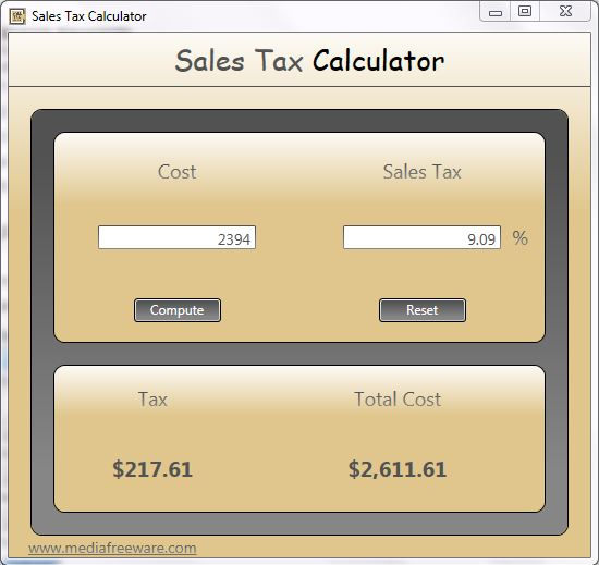 Click to view Free Sales Tax Calculator screenshots