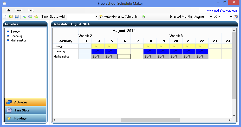 Free School Schedule Maker - Media Freeware Download