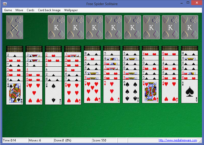 Free Spider Solitaire Screen shot