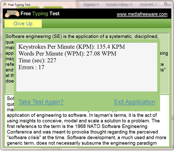 Free Typing Test Screen shot