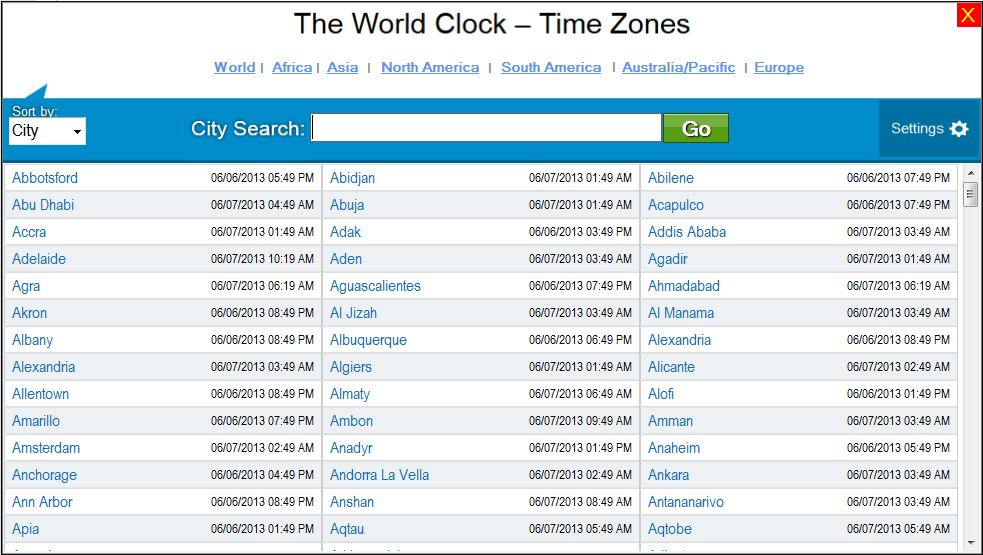 The World Clock - Time Zones