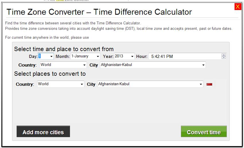 Time Zone Converter Time Difference Calculator